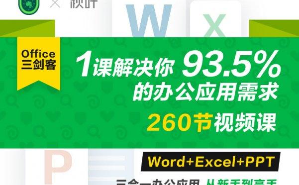 Word+Excel+PPT三剑客视频课 解决你的办公需求